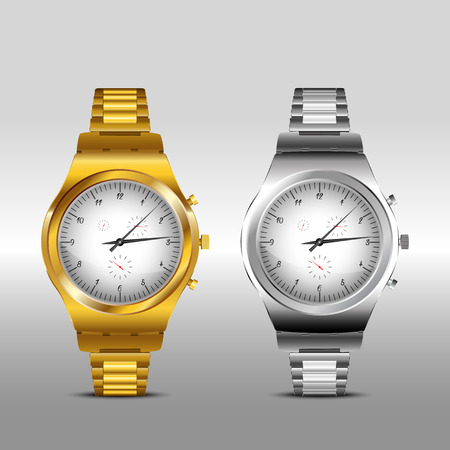 clockworks: Gold and Classic Metal watches on white background