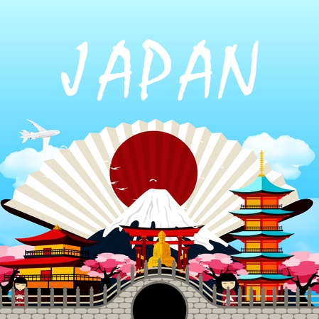 Japan travel in Japanese upon the fan Illustration