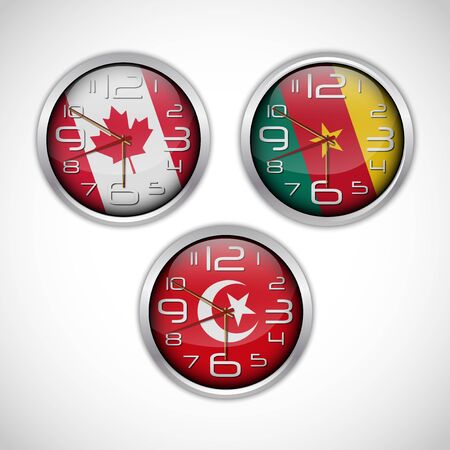 nations: Nations wall clocks of flag Illustration