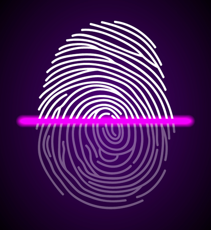 Fingerprint scanner illustration Stock Photo