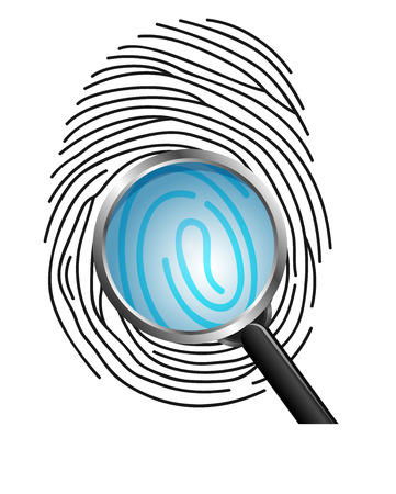 theft proof: Magnifying glass on Fingerprint isolated on white background Stock Photo