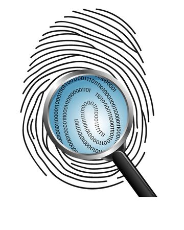 Magnifying glass over a finger print revealing binary code