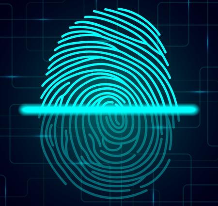 fingermark: Fingerprint scanner illustration Stock Photo