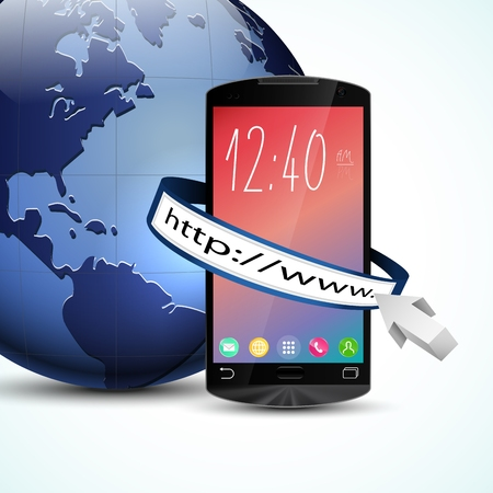 touch screen: Black touch screen smartphone with web browser and blue Earth globe isolated on white background