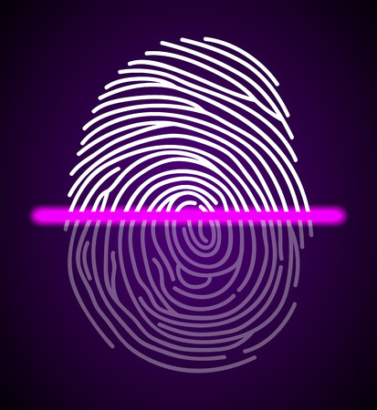Fingerprint scanner illustration Illustration