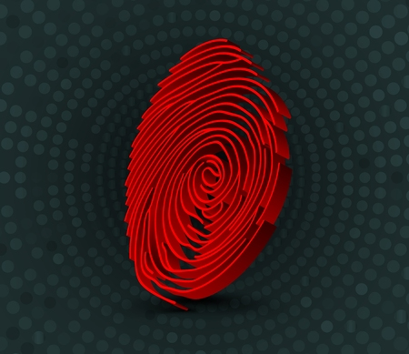 Red fingerprint scanner. 3D illustration