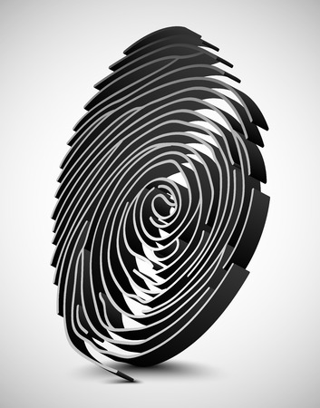scanner: White fingerprint scanner. 3D illustration Illustration