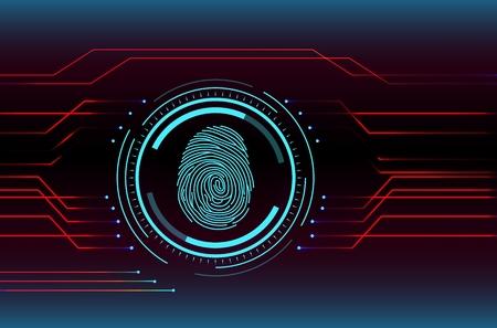 Fingerabdruck-Scan-Technologie-Konzept-Abbildung Vektorgrafik