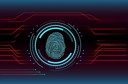 Tecnologia di scansione delle impronte digitali illustrazione del concetto Vettoriali