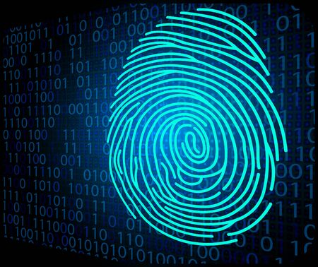 odcisk kciuka: Fingerprint scanning technology background binary code Zdjęcie Seryjne