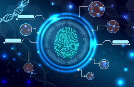 Fingerprint with concept abstract technology background