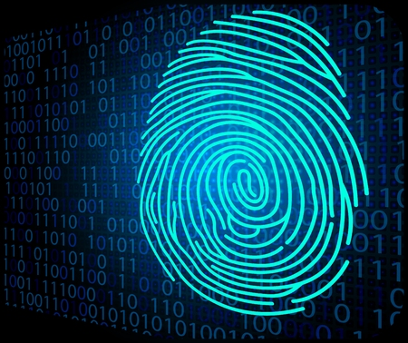 forensic: Fingerprint scanning technology background binary code Illustration
