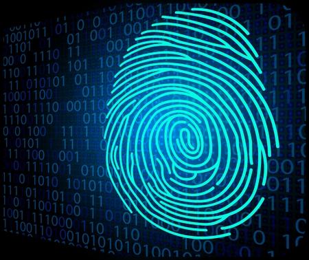 Fingerprint scanning technology background binary code Illustration