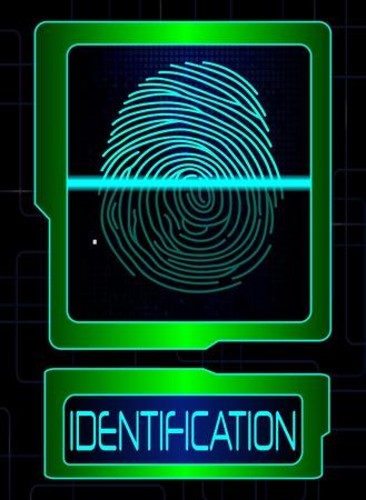 scanner: Fingerprint scanner, identification system Illustration