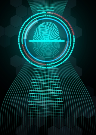 fingermark: Fingerprint with concept abstract technology background