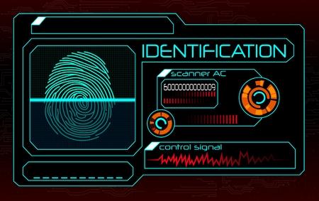 Fingerprint scanner, identification system  イラスト・ベクター素材