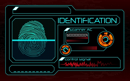 Fingerprint scanner, identification system Illustration