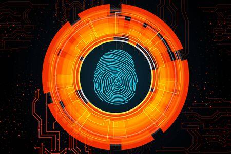 forensic: Orange light abstract technology background for concept fingerprint scanning