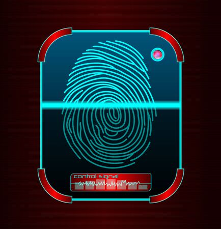 Fingerprint scanning, identification system Stock Photo