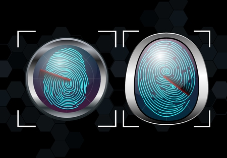 Group of Fingerprint Scanning Identification System Stock Photo