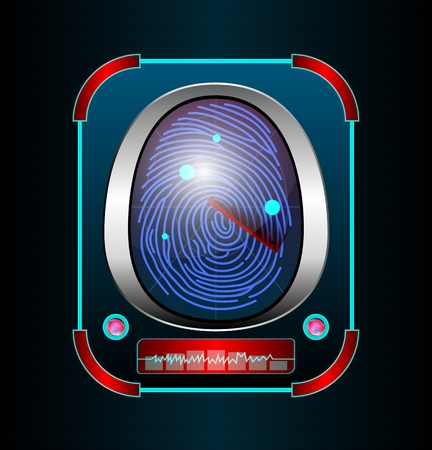 dactylogram: Fingerprint scanning isolated black background