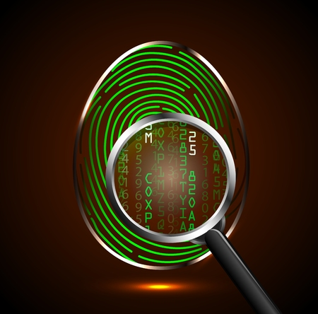 binary code: Magnifying glass looking at a fingerprint and showing binary code