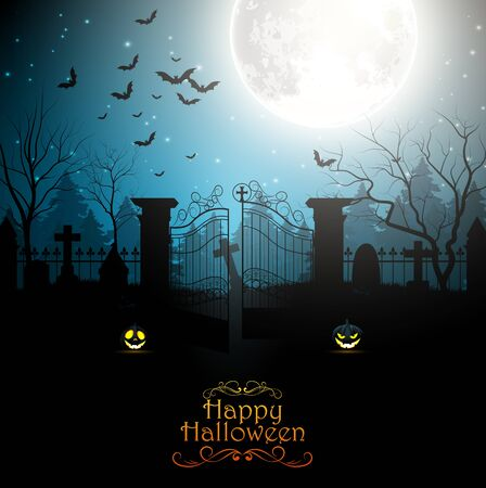 spooky graveyard: Halloween background with spooky graveyard Stock Photo