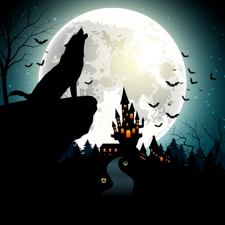 Halloween background with the wolf on full moon