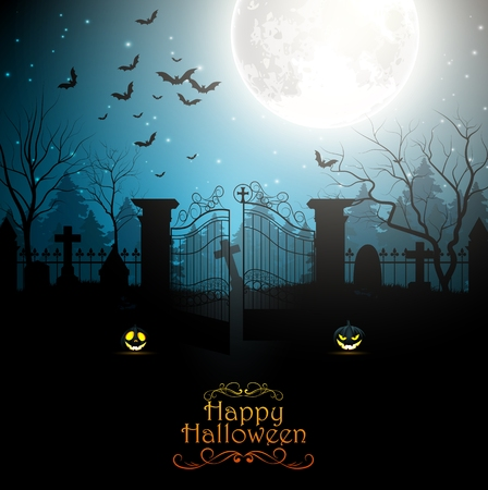 spooky graveyard: Halloween background with spooky graveyard Illustration