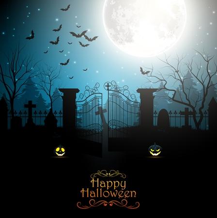 spooky graveyard: Halloween background with spooky graveyard Illustration