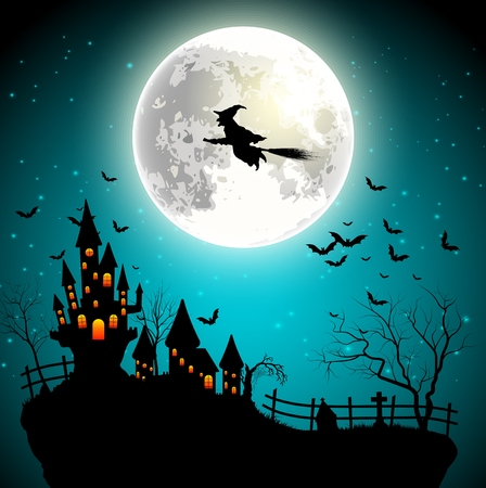Halloween background with flying witch on the full moon