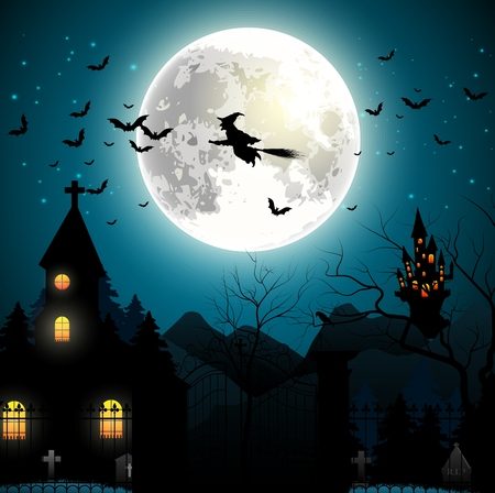 flying witch: Halloween background with flying witch on the full moon