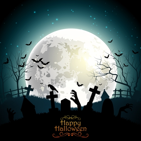 buried: Halloween background with zombie hands on the full moon