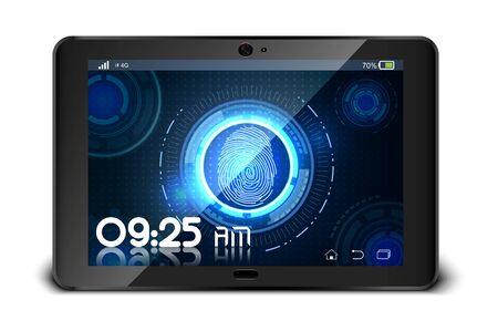 thumbprint: Fingerprint on tablet isolated on white background