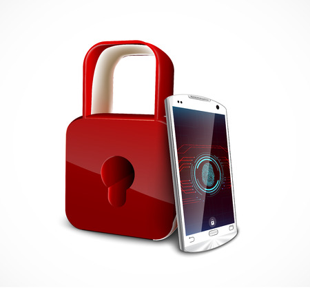 Fingerprint on smartphone with a padlock, concept of privacy and safety