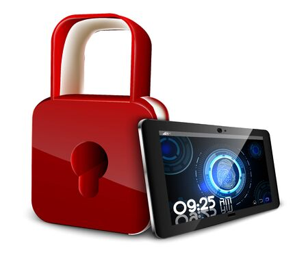 scans: Tablet PC concept of privacy and safety that scans a fingerprint and a padlock
