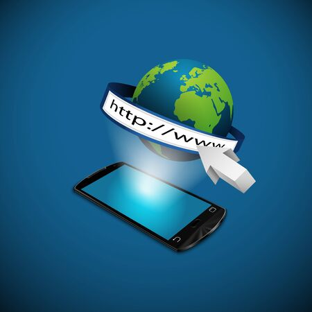 Smartphone with globe and address bar. 3d illustration