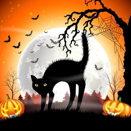 Gato negro con la calabaza de Halloween en la luna llena