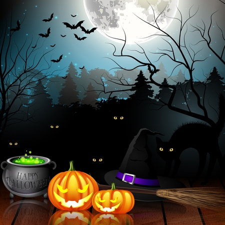 spooky forest: Halloween party background with pumpkins, hat, pot and broom in spooky forest