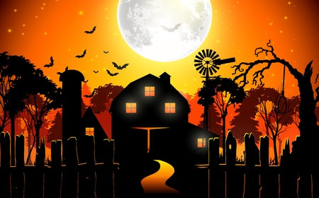 farmhouse: Halloween background with scary farmhouse in the woods