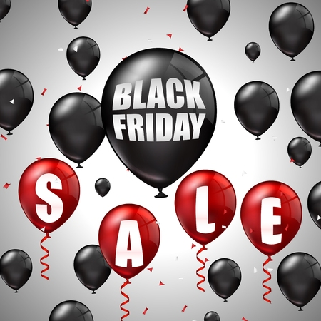 red balloons: Black Friday Sale with black and red balloons and discounts Stock Photo