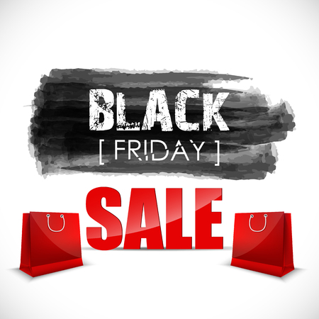 price drop: Black Friday watercolor banner with splashes of ink and shopping bag