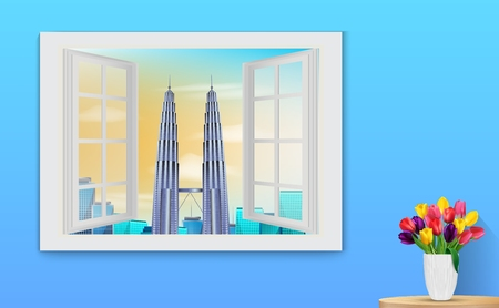 illustration of Opened wooden window and view on Petronas towers