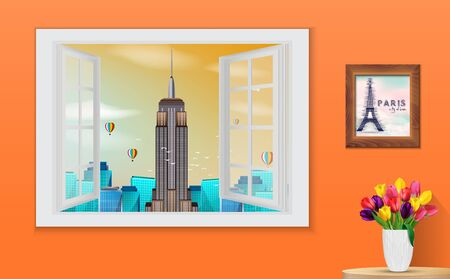 wooden window: illustration of Opened wooden window and view on Empire State Building
