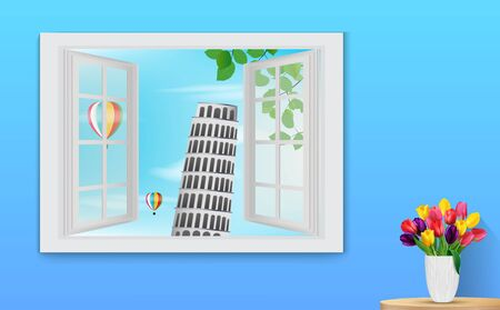 wooden window: illustration of Opened wooden window and view on Leaning tower Pisa