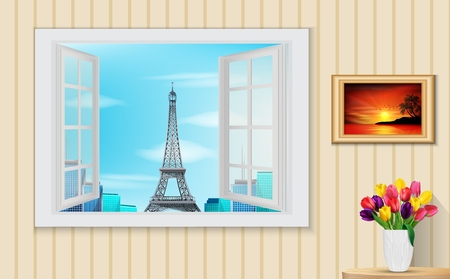 열린 된 나무 창 및보기 에펠 탑의 그림 일러스트