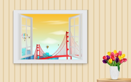 wooden window: illustration of Opened wooden window and view on golden gate bridge