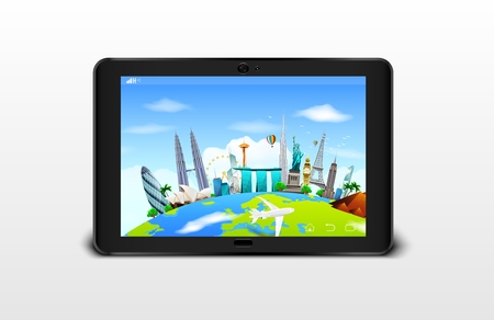 marina bay sand: illustration of Famous monuments of the world grouped together on a digital tablet