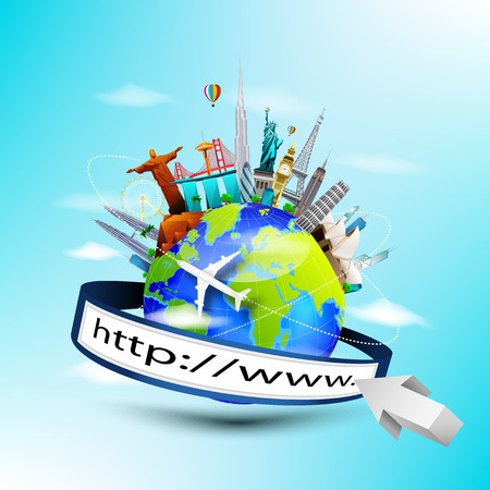 illustration of Planet earth travel the world concept with address bar on blue sky background