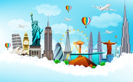parliament: illustration of Travel the world monuments concept on blue sky background